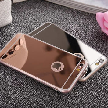 Rosany Plating Transparent Mirror Soft Case For iphone 7 Plus 4 4s SE 5 5S 6 6s Cover Silicone Frame Cover For Apple Phone Cases