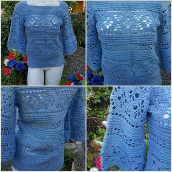 QQQ---Altered couture-Sweater-Size small- Hand dyed-Knitted-Bell sleeve-Blue color-Fall and winter fashion-Ski trip-Snow-Warm- Teen-Women