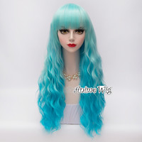 Lolita Halloween 60cm Mixed Blue Heat Resistant Curly Anime Cosplay Hair Wig
