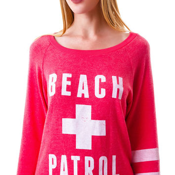 Ocean Drive Beach Patrol Long Sleeve Top Red