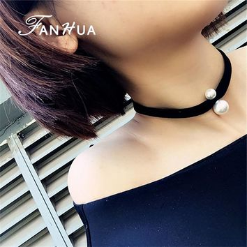 FANHUA  2016 New Coming Black Gothic Choker Leather Chain Necklace with Simulated Pearl Women Accessories Bijuteria