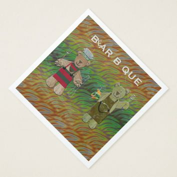 Bear B Que Fire Paper Dinner Napkin