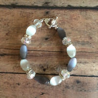 Gray, White and Clear - Beaded Bracelet