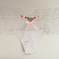 white lace daddys girl thong size small ddlg kinky daddys girl