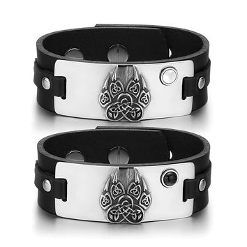 Aztecs Celtic Knots Wolf Paw Love Couples White Simulated Cats Eye Simulated Onyx Black Leather Bracelets