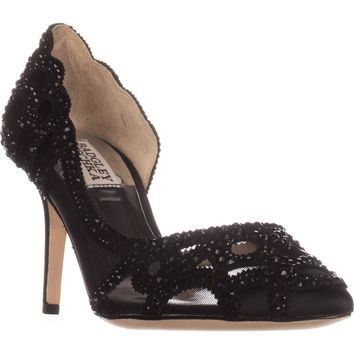 Badgley Mischka Marissa D'Orsay Heels, Black Satin, 6 US