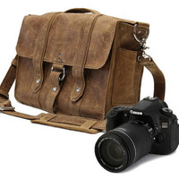 "14"" Manhattan Camera Bag - Desert Sand -Full Grain Leather - Large Padded Camera Insert Divider with Padded Bottom - Made in the U.S.A."