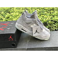KAWS x Air Jordan Retro 4 4s XX Kaws Cool Grey White Glow Men Basketball Shoes retro 4s White Blue black sports sneakers