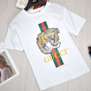 ONETOW GUCCI Women Tiger Letter Print Cotton Loose T-Shirt Top Black Spring Summer