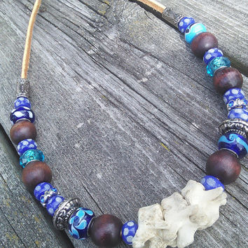 Tribal Blue bone Necklace,Real animal Bone jewelry,Raccoon Vertebrae Necklace,Spine Jewelry,Shamans Wiccan Pagan Necklace,Larp Cosplay