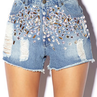Bejeweled High-Waisted Cut Offs