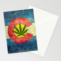 Retro Colorado State flag with the leaf - Marijuana leaf that is! Stationery Cards by Bruce Stanfield