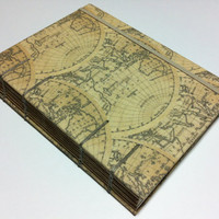 Fabric Travel Journal Notebook - Old World Map Sand - Handmade Coptic Stitched