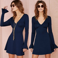 Dark Blue Flounce Long Sleeve V-Neck Low Back Mini Dress