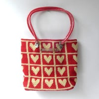 Vintage red and cream heart skipping girl plastic woven wicker basket tote