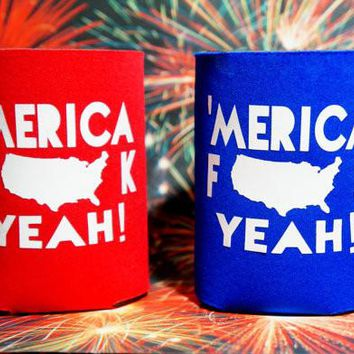 SET OF 2 'MERICA F*** YEAH Koozies / Coolie / Coozie / Cozy / Huggy