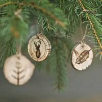Set of 3 Feather, Deer, Tree Wood burned Ornament