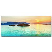"Sunset - Tropical Beach Ocean Sea Art Silk Fabric Poster Print 13x32 24x60"" Sunrise Nature Pictures For Wall Decor 015"