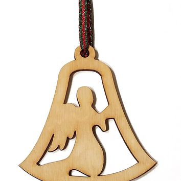 Angel Bell Cutout Laser Engraved Wooden Christmas Tree Ornament Gift Seasonal Decoration