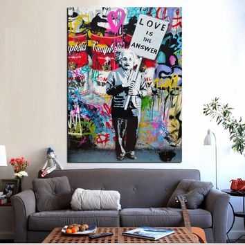 "Large Colorful Graffiti ""Love Is The Answer""Canvas Poster and Print Painting Einsten Holding a Sign Wall Art Home Cuadros Decor"