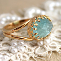 Mint Aquamarine gemstone Ring  - 14k gold filled Aqua mint gemstone jewelry.