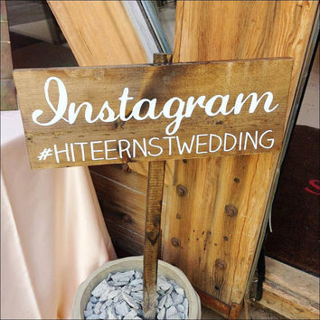 Instagram Wedding Sign, Wedding Wooden Sign - Instagram - WS-44