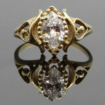 Interesting Heart Side 10K Yellow Gold Modern Filigree Marquis Diamond Ring - RGDI125P