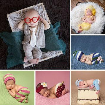 Handmade Infant Baby Costume Set Knitted Beanies Hat Cute Newborn Photography Prop Baby Boys Girls Crochet Hats Caps Accessories