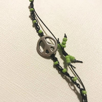 peace sign crocheted anklet green seed beads handmade adjustable one size fits all