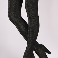 Bamboo Glitter Knit Pointy Toe Chunky Heel Over-The-Knee Boots