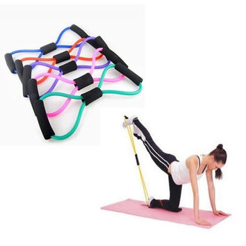 1PCS Yoga Strap Belt Yoga Supplies 8 Characters Pull Rope Rally Chest Expander Pilates Body Building Fitness Equipment Tool [8069648007]