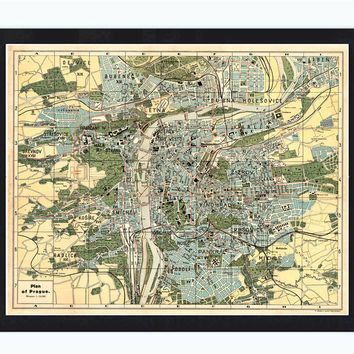 Old Map of Prague 1900 Czech Republic - VINTAGE MAPS AND PRINTS
