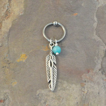 Tribal Feather CBR Hoop Cartilage Bead Hoop Earring Boho Tragus Helix Piercing