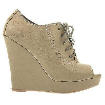 Enrich4 By Soda, Lace Up Open Toe Spectator Platform Wedge Bootie Qupid Shoe