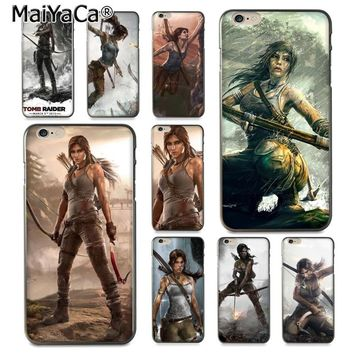 MaiYaCa Lara Croft in Tomb Raider  Luxury Hybrid soft phone case for iPhone 8 7 6 6S Plus X 10 5 5S SE 5C Coque Shell