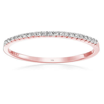 0.08 Carat (ctw) 10k Rose Gold Round White Diamond Ladies Dainty Anniversary Wedding Band Stackable Ring