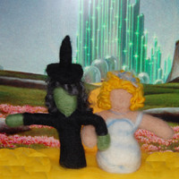 Needle Felted Wizard of Oz Dolls - Wicked Witch of the West Elphaba & Good Witch Glinda - Wicked Musical - Theatre Fan Gift/Literary Gift -