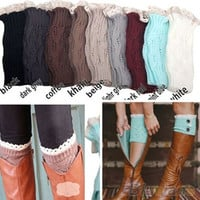 Women's Crochet Knitted Lace Trim Toppers Cuffs Liner Leg Warmers Boot Socks