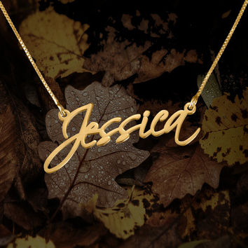 Name necklace 'Jessica' style Personalized pendent - 24k gold plated over 925 sterling silver
