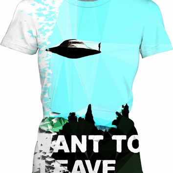 I want to be-leave ufo poster classic 90s series variation aliens flying saucer object sad poster tee shirt v2