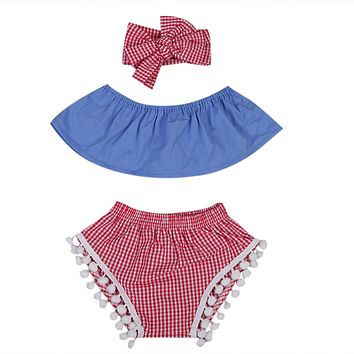 Baby Clothing Set Cute Newborn Baby Girls Tube Tops+Plaid Tassel Short +Headband Outfits Clothes
