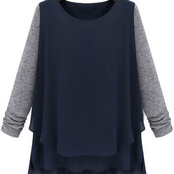 Dark Blue Long Sleeve Top