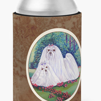 Maltese Momma and Puppy Can or Bottle Hugger 7104CC
