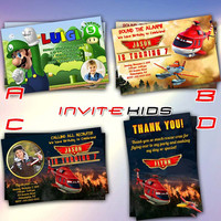 Luigi Super Mario and Planes Fire Resque Design - Invitation Card - Birthday Party Kids - InviteKids