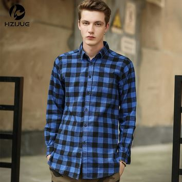 HZIJUE Hip Hop Scottish Plaid Long Sleeve Flannel shirt Men/ Dancers Shirt Golden Side Zipper/ Oversize Plaid Lengthen Shirt
