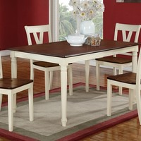 5 pc Erin III collection cream finish wood legs and cherry finish wood tops dining table set with wood top seats