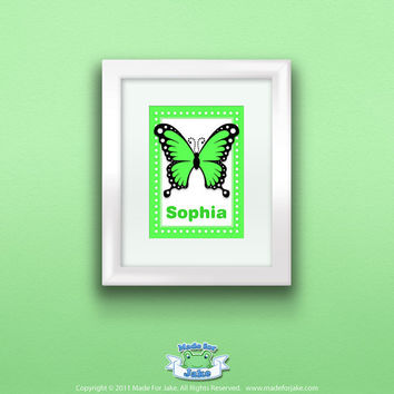 5x7 Personalized  Green Swallowtail Butterfly Print