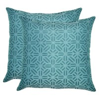 Threshold™ 2-Piece Outdoor Decorative Throw Pillow Set - Blue Geometric
