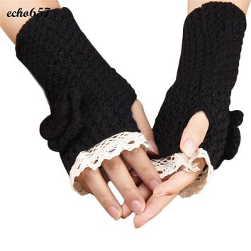 Newly Fashion Women Gloves Echo657 Hot Sale Casual Womens Fashion Knitted Winter Warm Knitted Lace Rose Gloves Dec 8