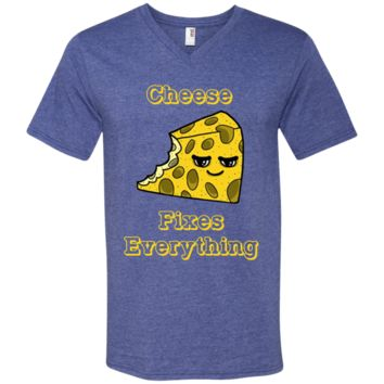 Cheese lover T shirt - Cheese fixes everything 982 Anvil Men's Printed V-Neck T-Shirt